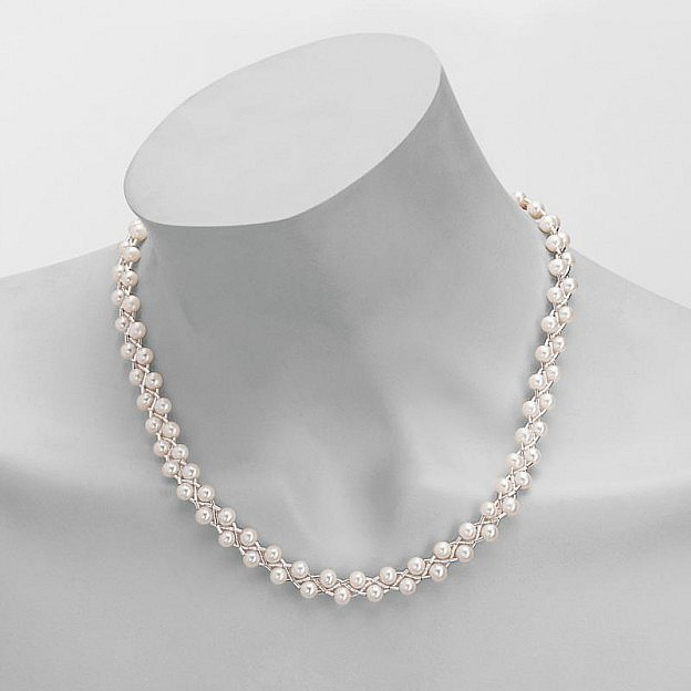 Halskette aus flüssigem Silber 925 mit Süßwasserperlen