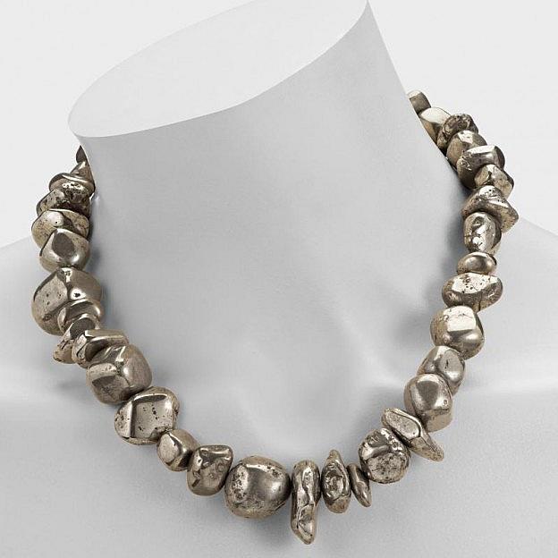 Pyrit-Halskette Barock Sterlingsilber