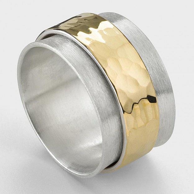 Ring Sterlingsilber und Gold gehämmert