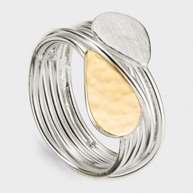 Wickelring Silber und Gold gehämmert