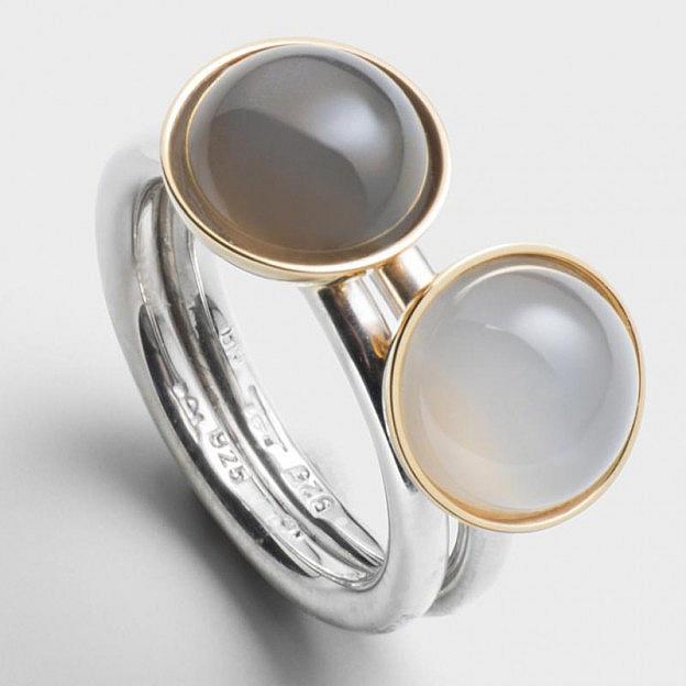 Ringpaar Sterlingsilber mit Mondsteinen in Goldfassung