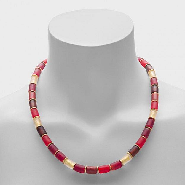 Collier Muranoglas zylindrisch, rot
