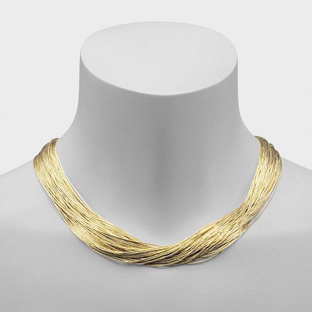 Halskette mit 50 Strängen aus flüssigem Sterlingsilber, vergoldet