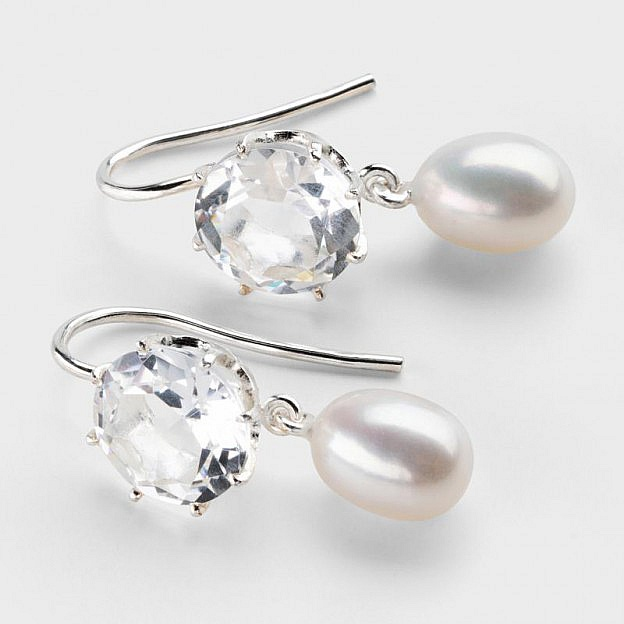 Ohrhänger Sterlingsilber, Bergkristall und Perle