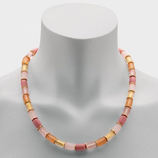 Collier Muranoglas zylindrisch, lachsfarben