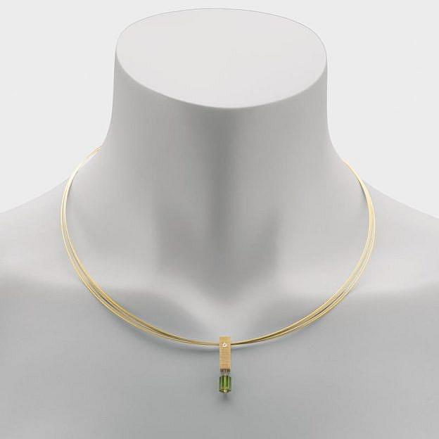 Halskette mit Anhänger Turmalin und Sterlingsilber mit Brillant