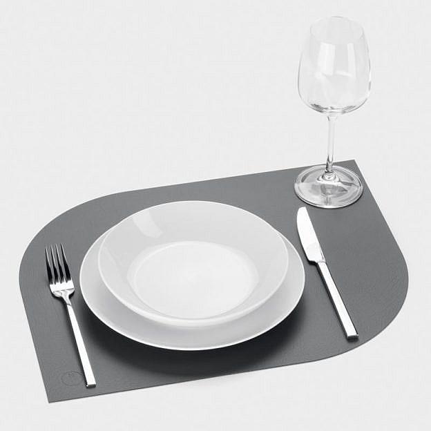 Tischset Recyclingleder Leaf, 2er-Set, anthrazit