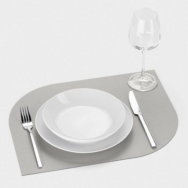 Tischset Recyclingleder Leaf, 2er-Set, stone