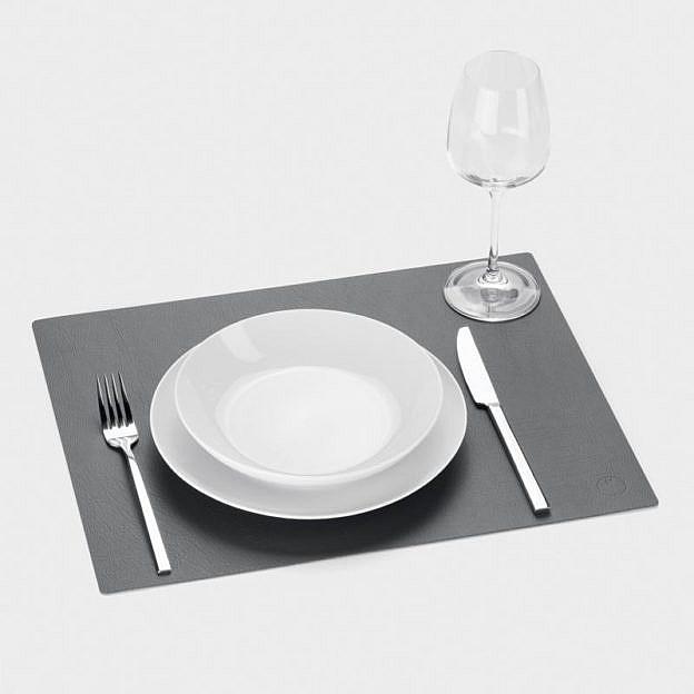 Tischset Recyclingleder square, anthrazit, 2er-Set