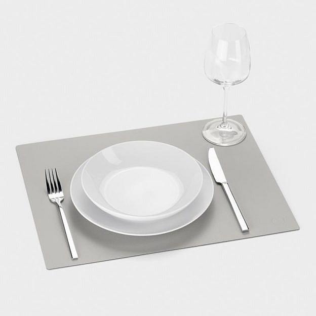 Tischset Recyclingleder square, stone, 2er-Set