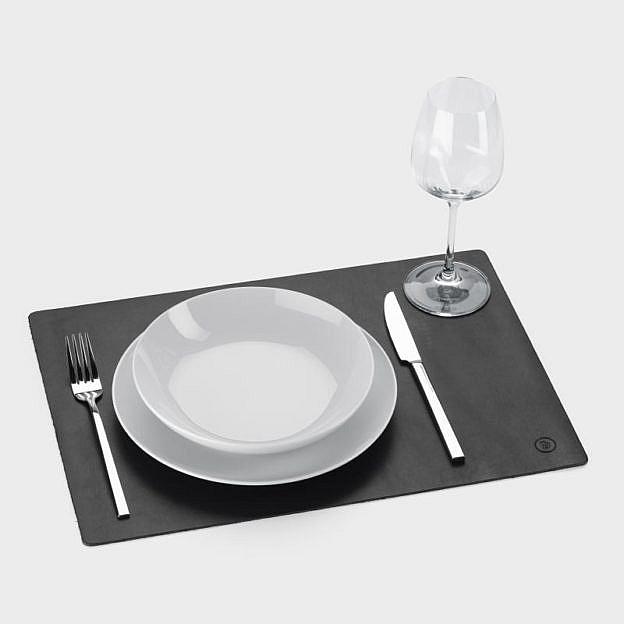 Tischset Büffelleder schwarz, 2er-Set