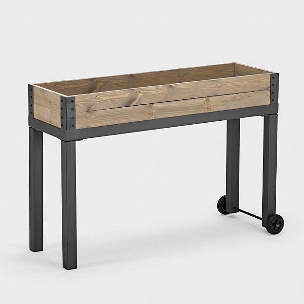balkonhochbeet mit r dern stahl. Black Bedroom Furniture Sets. Home Design Ideas