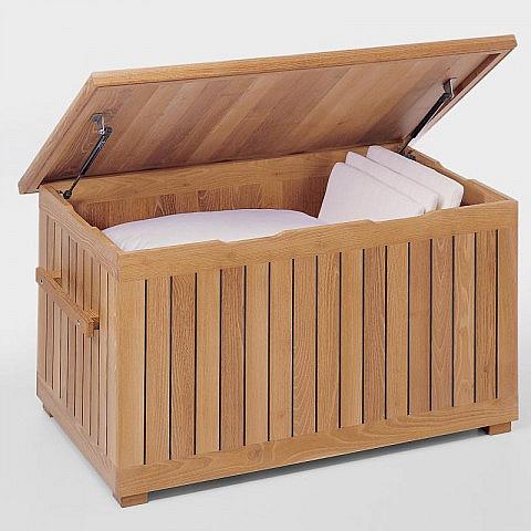 kissentruhe robinienholz mit gasdruckfeder. Black Bedroom Furniture Sets. Home Design Ideas