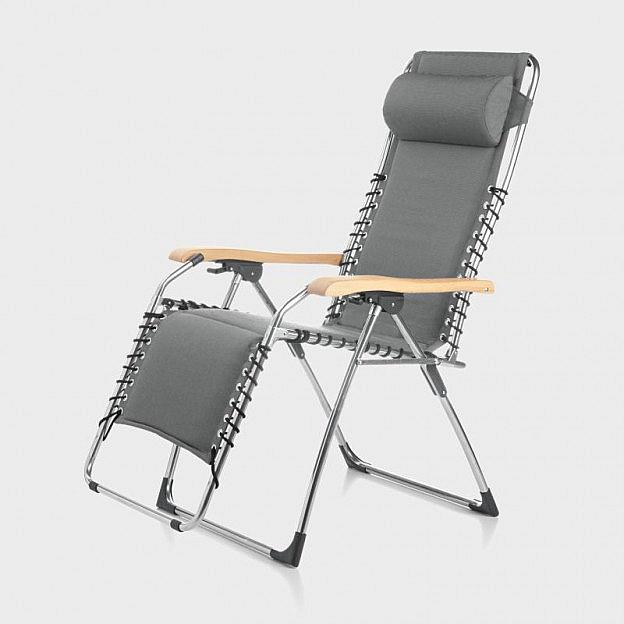 Komfortliegestuhl Aluminium mit Eschenholz-Armlehnen, anthrazit