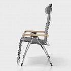 Komfortliegestuhl XL Aluminium mit Eschenholz-Armlehnen, anthrazit