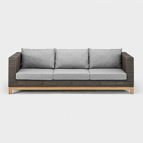 lounge gartensofa 3 sitzer aluminium geflecht teak. Black Bedroom Furniture Sets. Home Design Ideas