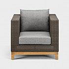 Lounge-Gartensessel Aluminium/Geflecht/Teak